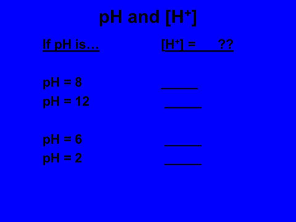 pH and [H+] If pH is… [H+] = pH = 8 _____ pH = 12 _____